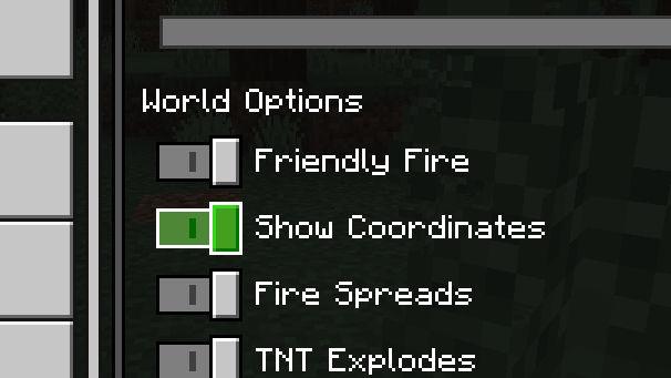 minecraft show coordinates