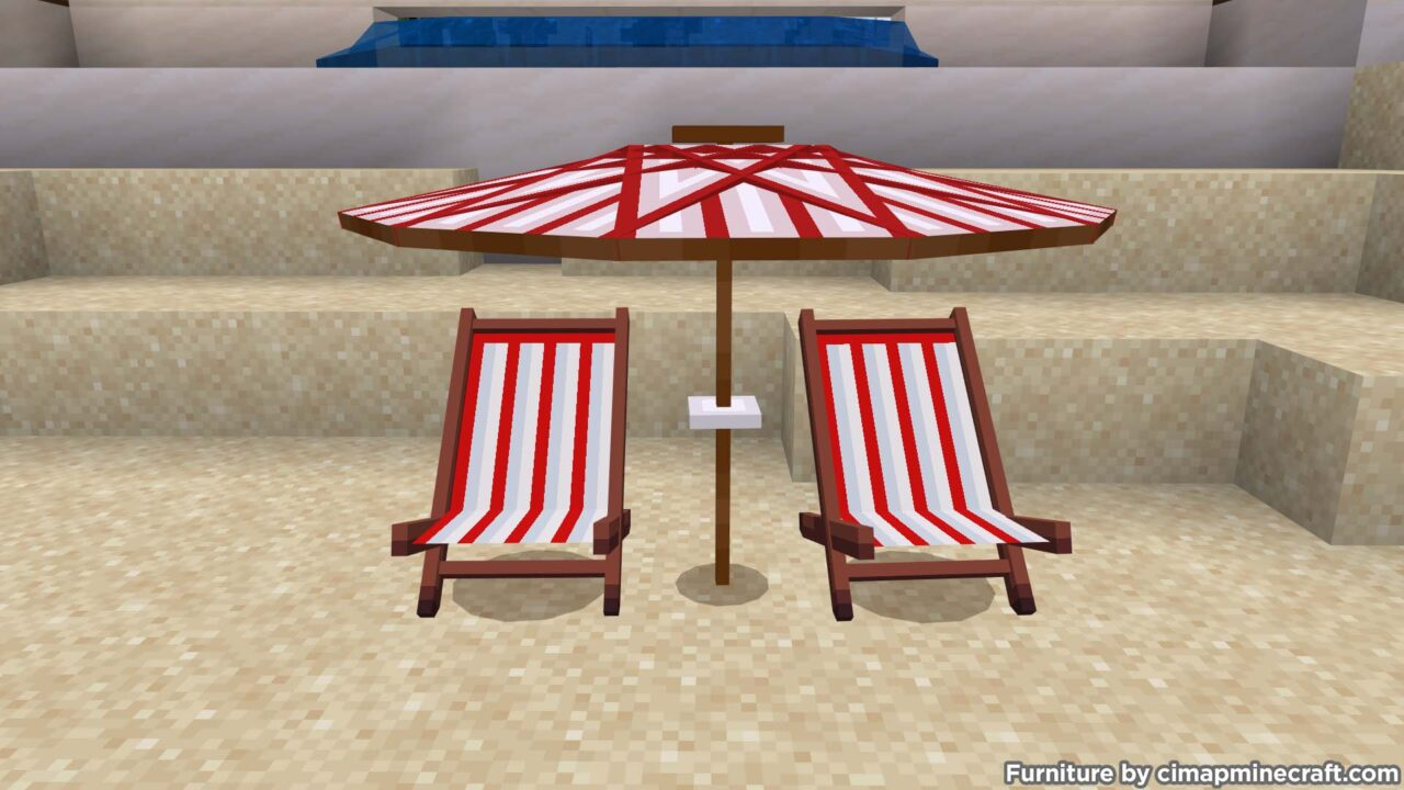 Beach Umbrella and Deckchairs Minecraft Furniture