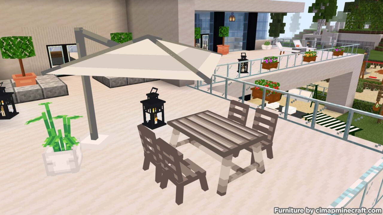 Table and Patio Umbrella Minecraft Furniture
